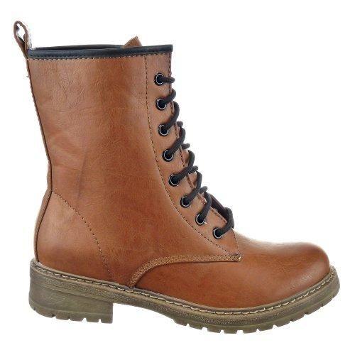 Oferta: 27.5€ Dto: -36%. Comprar Ofertas de Sopily - Zapatillas de Moda Botines Botas militares Media pierna mujer Talón Tacón ancho 3.5 CM - plantilla textil - Camel FR barato. ¡Mira las ofertas!