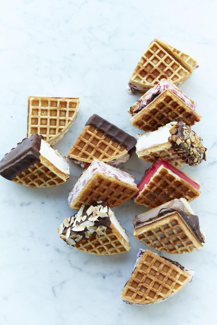 Happy National Ice Cream Day! We used the Breville Round Waffle Maker to make these cute waffle 'wiches.