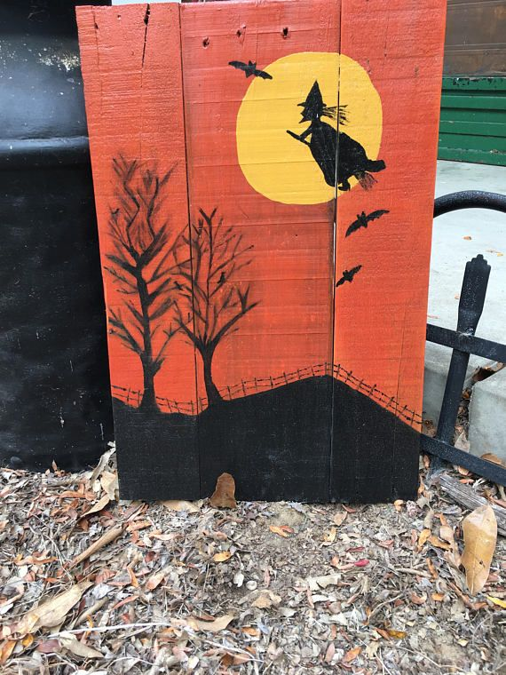 Halloween Pallet Sign Witch Sign Haunted House Spooky Sign