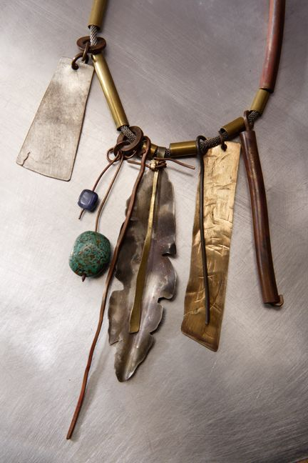 Roxy Lentz Jewelry--Necklace of various re purposed metals on oxidized brass chain.