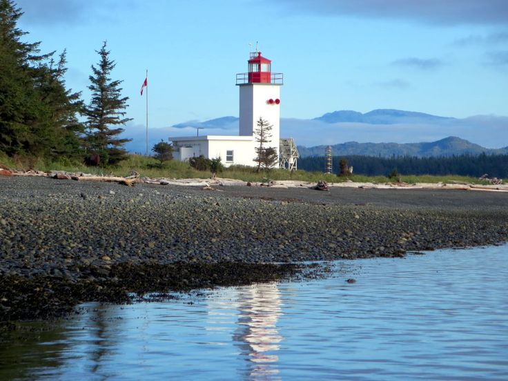 Pulteney Point Lighthouse on Malcolm Island, British Columbia, Canada, marks the western entrance to Broughton Strait.