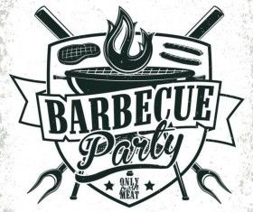 Retro barbecue labels with grunge background vector 05