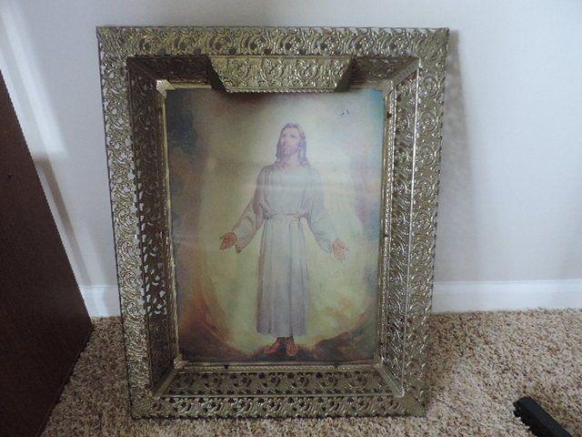 Vintage Framed Light Up Jesus Hologram picture Ornate frame Christian religious