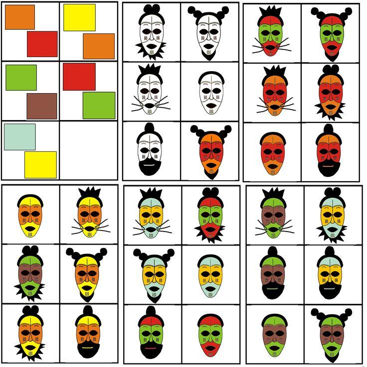 matrix kleuter Afrika: masker combineren met 2 kleuren