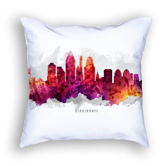 cincinnati pillow 18x18 cincinnati skyline cincinnati cityscape cincinnati art cushion - Home Decor Cincinnati