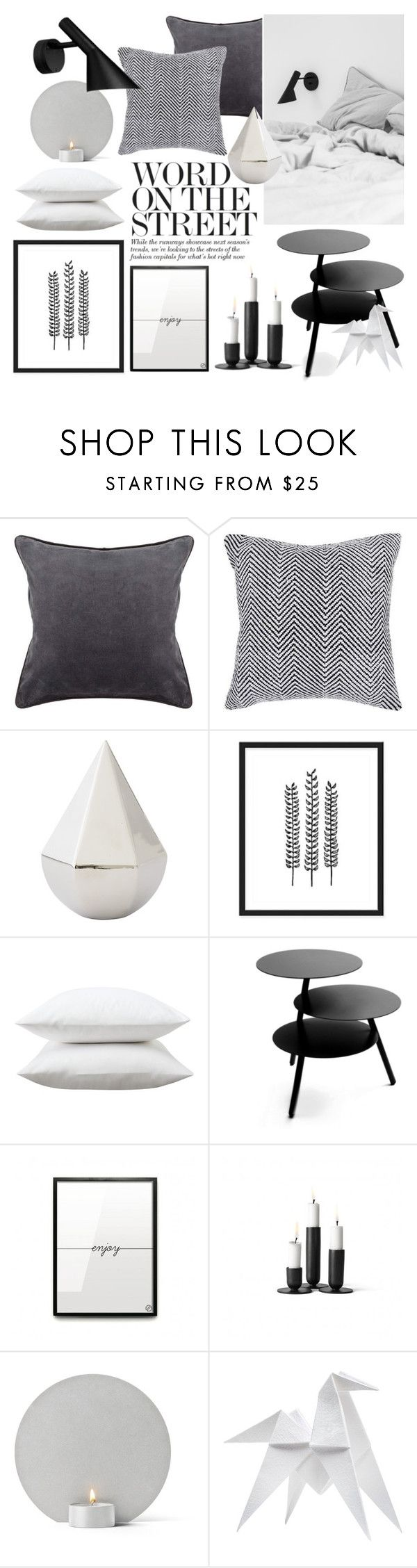 """Black & White Bedroom"" by sofiehoff on Polyvore featuring interior, interiors, interior design, ev, home decor, interior decorating, Chandra Rugs, DwellStudio, Fieldcrest ve Pulpo"
