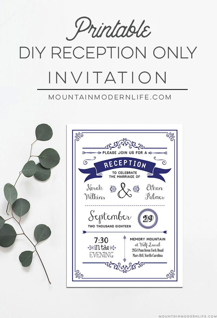reception only invitations reception only wedding invitations Navy Rustic DIY Reception Only Invitation