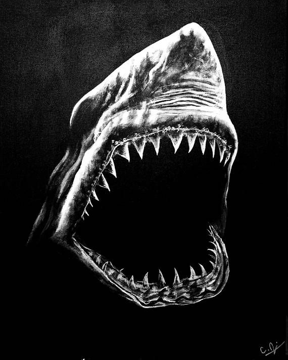 Shark art jaws prints shark painting jaws wall decor art