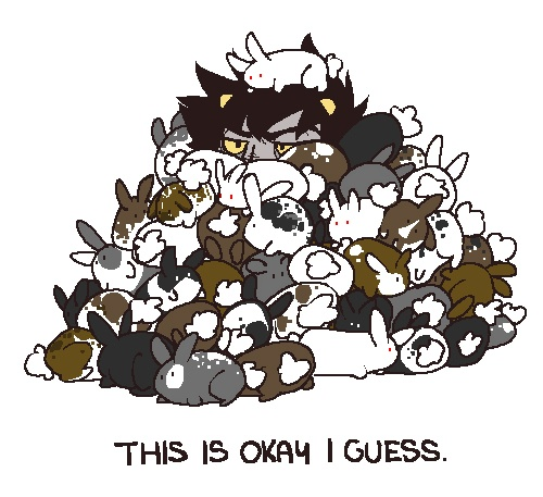 Karkat in a pile of bunnies... Cuteness overload!!!!!