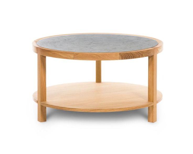 Bas soffbord runt med kalksten - Bredaryds Möbler