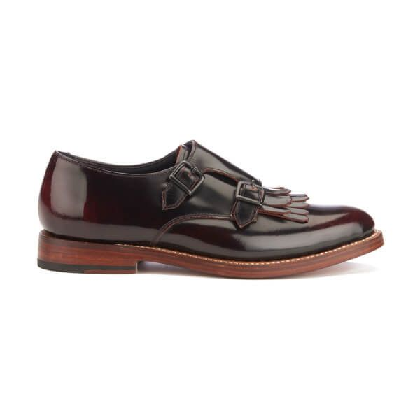 Grenson Women's Posy Rub Off Leather Monk Shoes - Burgundy (£205) ❤ liked on Polyvore featuring shoes, burgundy, leather flat shoes, flat pointy toe shoes, flat shoes, burgundy flat shoes and pointy-toe flats