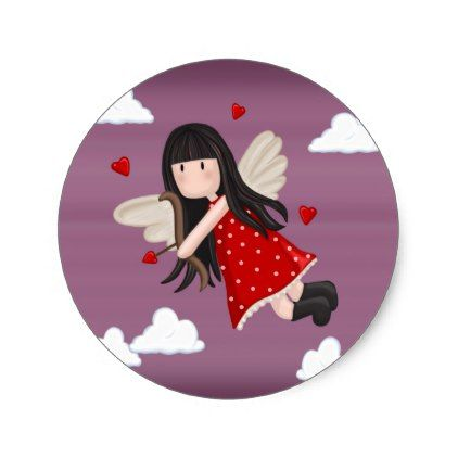 Cupid girl classic round sticker - romantic gifts ideas love beautiful