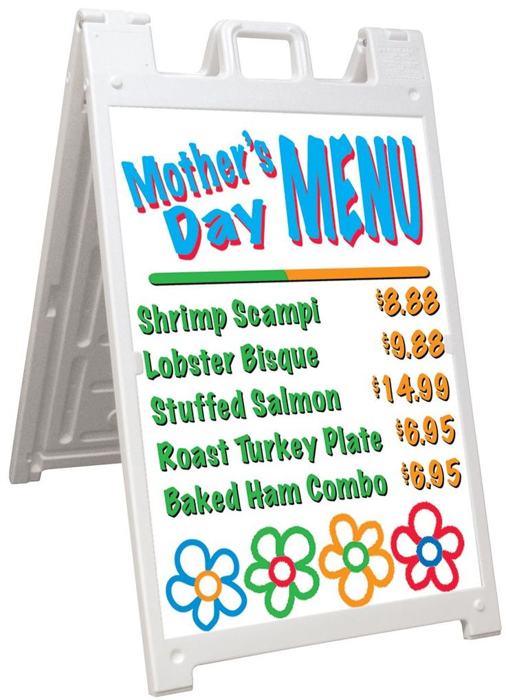 Sidewalk Sign for 24 x 36 Poster Boards, Double-Sided, Fillable Base - White