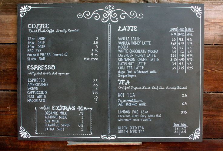 Chalkboard coffee shop menu for POUR coffeehouse in Kansas. One of a set of three.