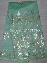 Neue modell Hellgrünen Afrikanischen design Satin stoff Voile george Indische george spitze stoff satin material GL104, freies verschiffen(China (Mainland))