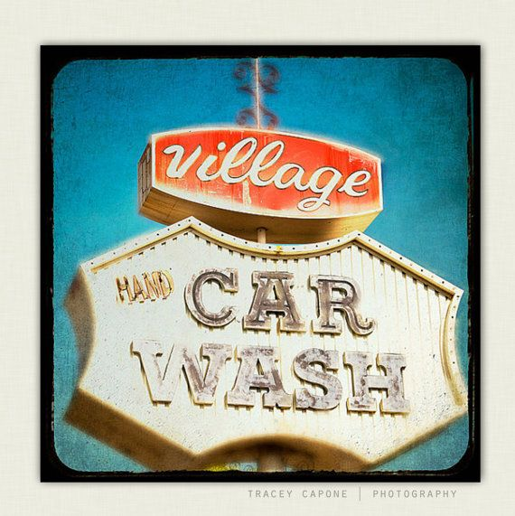 Photography - Route 66 Wall Decor - Whimsical Wall Art - At the Car Wash - Retro Inspired Home Decor, tomato red, teal, Route 66 sign