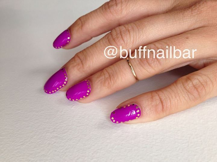 """February's mani of the month is using Habit polish in the shade """"Sweet Life"""" as an ode to Pantone's 2014 Color of the Year, Radiant Orchid. Get the look this month for only $35. Book your appointment at BUFF by calling 404.525.8344."""