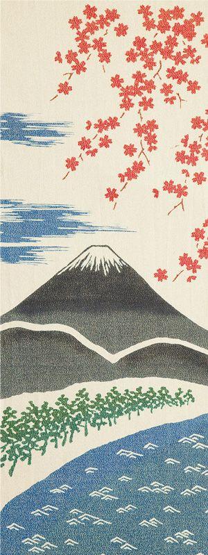 Japanese washcloth, Tenugui 和布華  春の富士山(金糸)Mt. Fuji in spring【gold thread type】