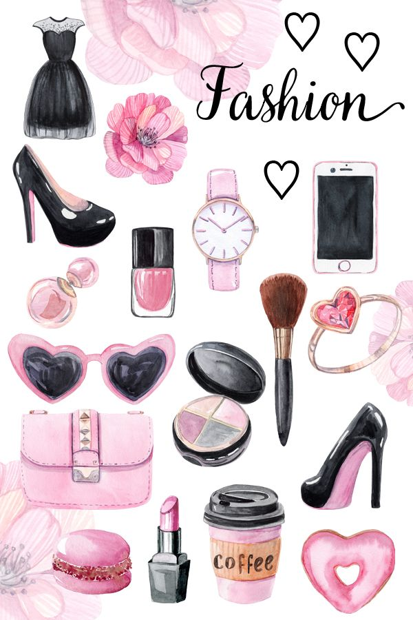 Watercolor Fashion Clipart With Pink Woman Accessories Instant Download Fashion Clipart Watercolor Fashion Fashion Background