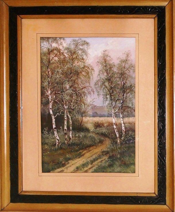 Jaroš Bohumil ( 1856 - 1924 ) - Cesta - kvaš,karton,pod sklem - okolo 1900 - 43x30