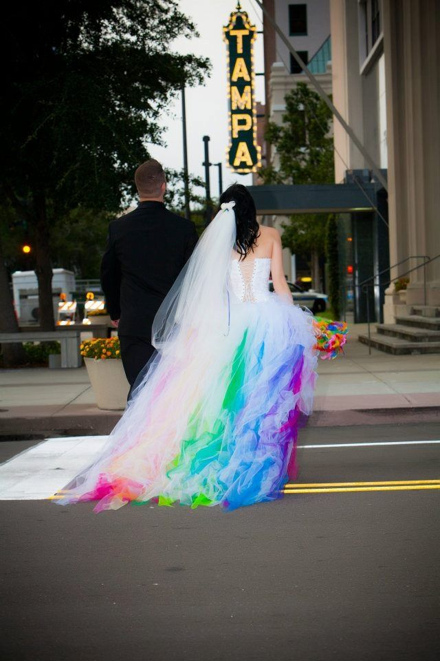 This is pretty awesome, i would love this but idk if id pull it off .. Rainbow Wedding dress By http://Sparklefide.com