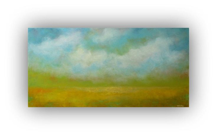 Excited to share the latest addition to my #etsy shop: Oil Painting on Canvas, Original Abstract Landscape, Blue and Yellow, Sky and Clouds, 15 x 30 Colorful Modern Palette Knife Art
