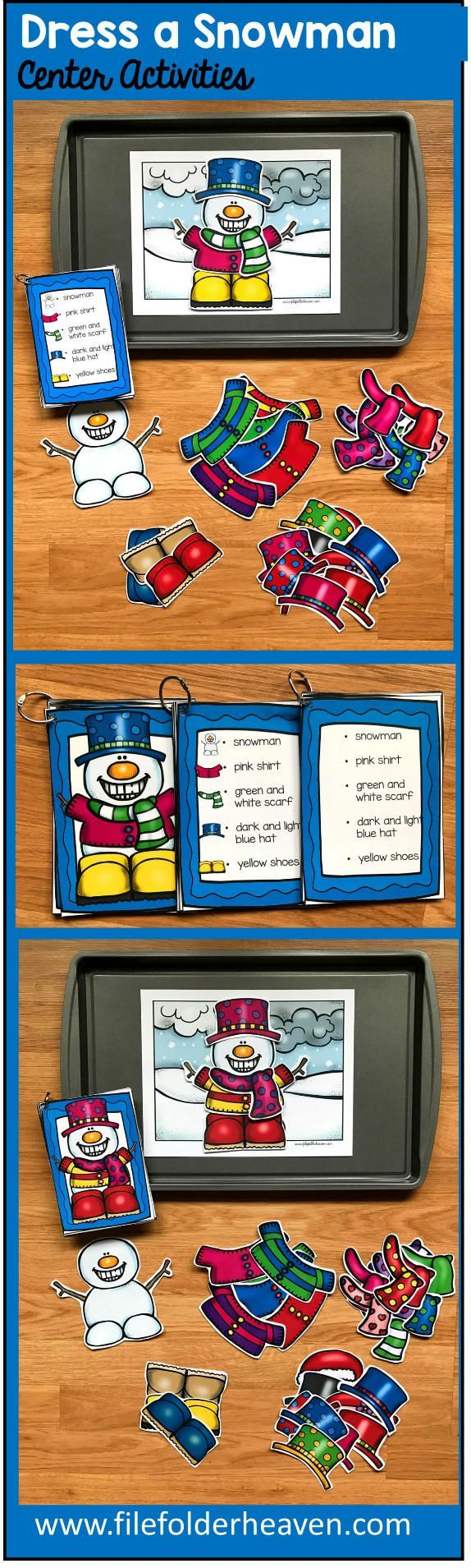 The Dress A Snowman Center Activities, can be set up as cookie sheet activities, a magnet center or completed as cut and glue activities. This activity includes: 1 background, penguin building pieces, and three sets of building cards for differentiation. Students can build 16 different snowmen by looking a picture cards (level 1), using the cards with words and pictures (level 2), or using the cards with just words (level 3).