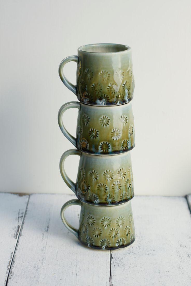 SECONDS sale, set of 4 porcelain mugs by potteryandtile on Etsy