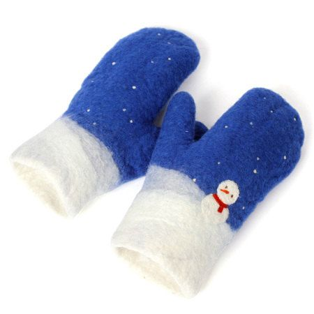 snowman wool felt mittens 100 percent handmade--Xmas, new year