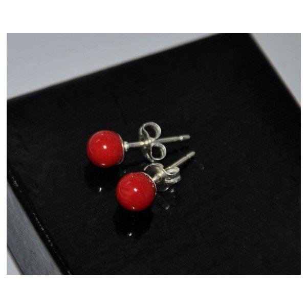 Rood koraal oorbellen, 6mm bal Stud Earrings Stud Earrings, Gemstome... (265 ZAR) ❤ liked on Polyvore featuring jewelry and earrings