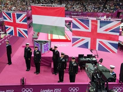 Union Jack raised by Royal Navy personnel - Men's Pommel Horse