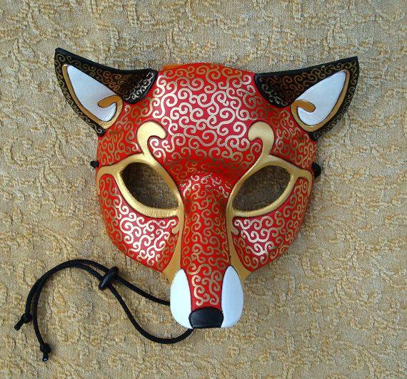 Venetian Fox Mask handmade leather mask by Merimask on Etsy, $120.00