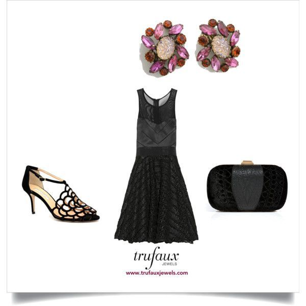 Dress Up Your Little Black Dress with Schiaparelli Jewels: Shocking! by trufauxjewels on Polyvore featuring Milly, Oscar de la Renta, Emilio Pucci and Lava