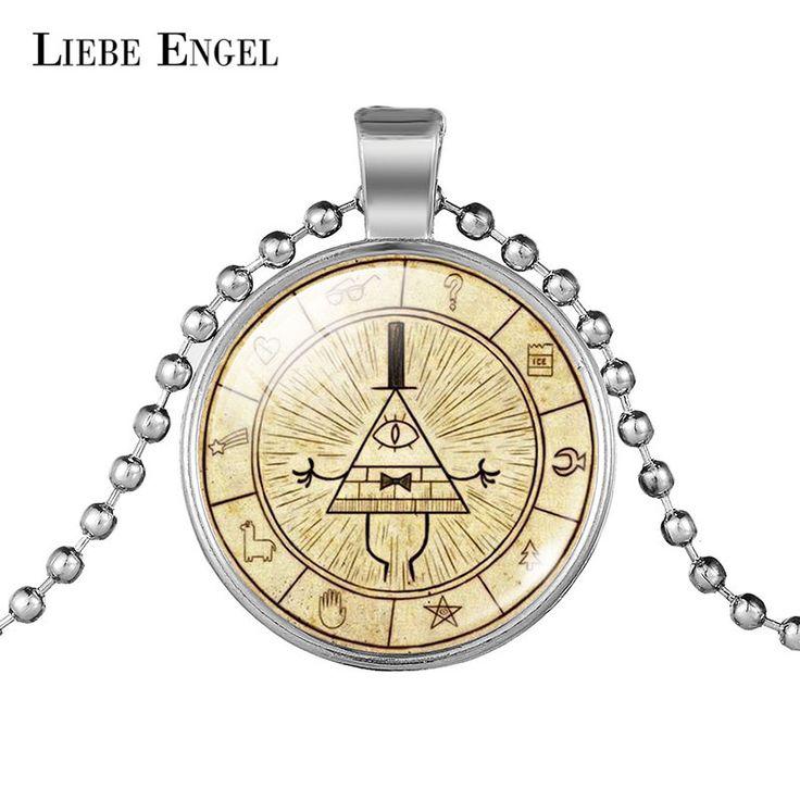 LIEBE ENGEL Steampunk Drama Gravity Falls Mysteries BILL CIPHER WHEEL Pendant Necklace Glass Doctor Who 1pc Men Handmade Jewelry