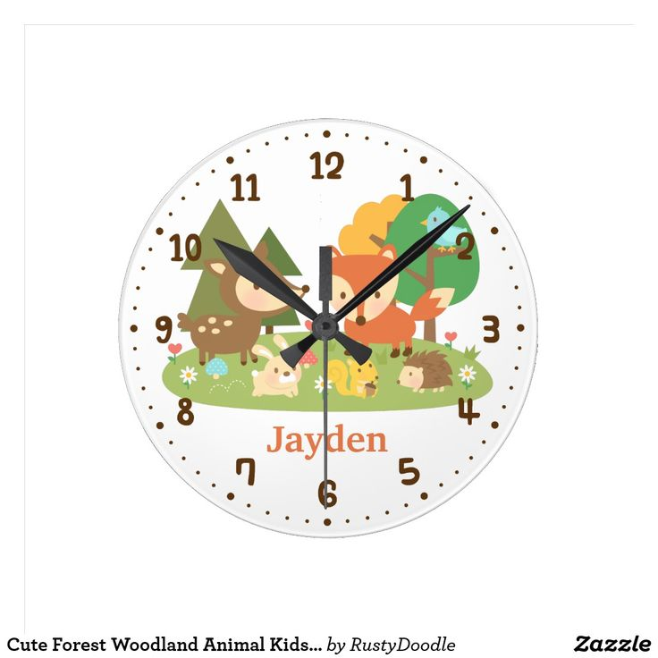 Cute Forest Woodland Animal Kids Room Decor Round Clock