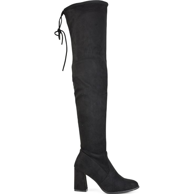 Black suede over the knee boot Lets Walk JN77-02