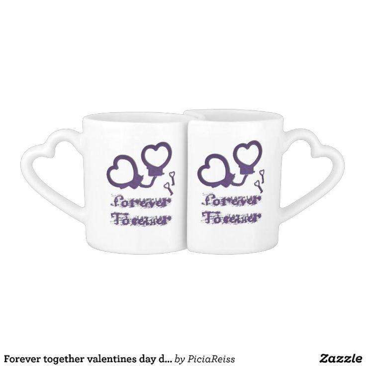 Forever together valentines day design cuffs heart coffee mug set