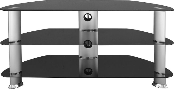 sales@spt-furniture.com   Harley TV Stand Black Glass/Silver Assembled Sizes(MM) 1000 x 450 x 49  Extra Information GLASS THICKNES 8/5MM SHELF SIZE W995 D445 H200 BOT SHELF SIZE W995 D445 H190 MAXIMUM WEIGHT ON TOP 30 KGS MAXIMUM WEIGHT ON SHELVES 20KG