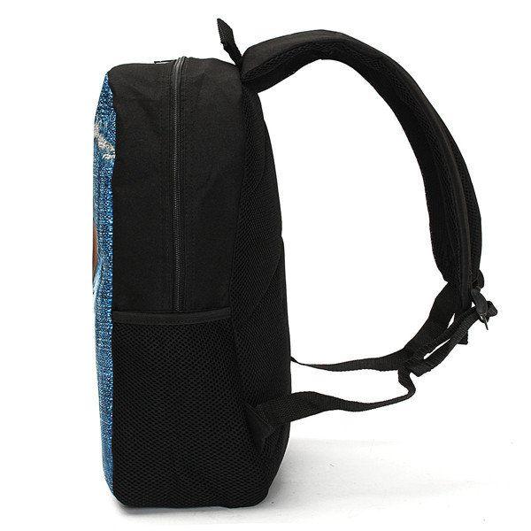 3D Cat Backpack Dog Pattern Denim School Book Bags Travel Bags - US$22.99