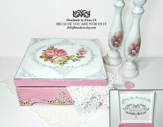 Caja de joyería personalizada, joyero de Shabby chic, apenado joyero, caja de costura rosa apenado, caja shabby chic rosas,