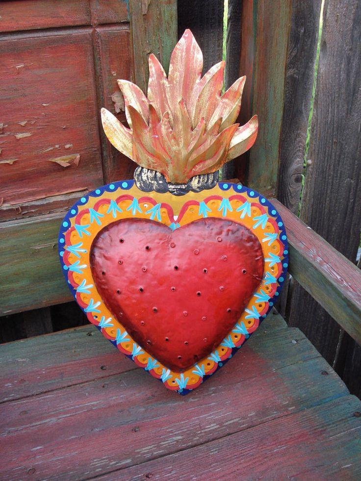 Large Sacred Heart Red Color Nicho Metal Tin Ornament Lamp Decor Folk Art