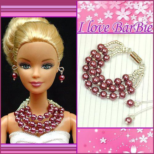 barbie doll jewelry set barbie purple pearl necklace by sinogem, $3.99