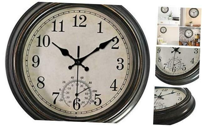 12 Inch Wall Clock With Thermometerbattery Operated Waterproof Indoor Outdoor C Wall Clocks Ebay Link In 2020 Outdoor Wall Clocks Waterproof Wall Clock Wall Clock