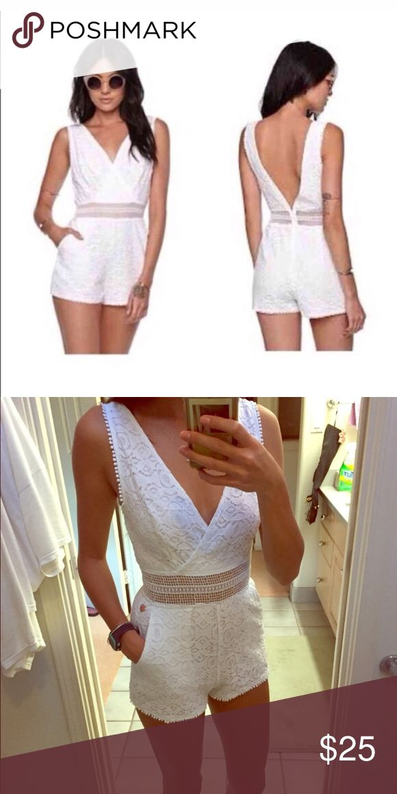 Kendall & Kylie white lace romper Very cute. Runs small so that's why I'm selling it. Kendall & Kylie Dresses Mini