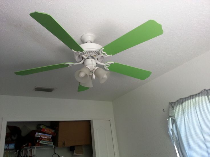 Again, we painted the fan and gave it a face lift to fit the theme of the room.  I don't think we would have been able to buy one this color anywa…