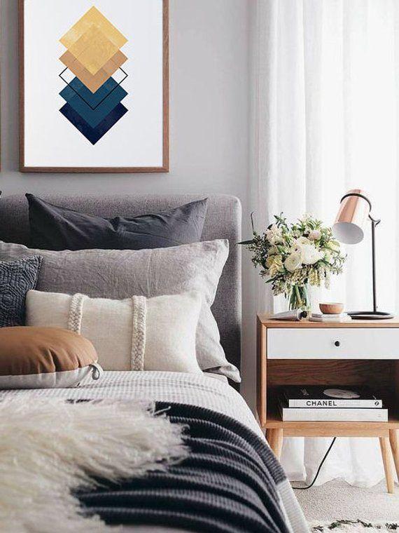 Minimalist Art Print, Blue and Yellow Print, Square Prints, Wall Decor, Home Decor, Geometric Desig