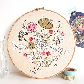 Wild Flowers Embroidery Hoop Picture
