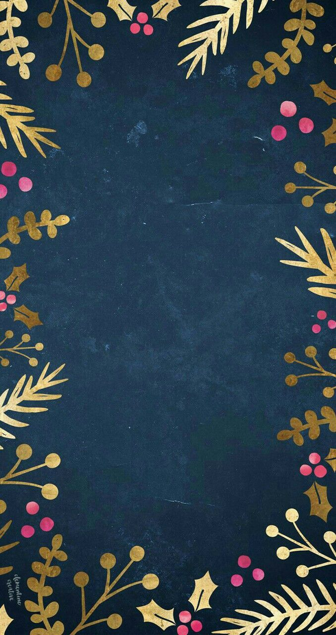 16 best wallpapers images on pinterest background images dark blue christmas wallpaper bordered with gold foliage and pink berries voltagebd Choice Image