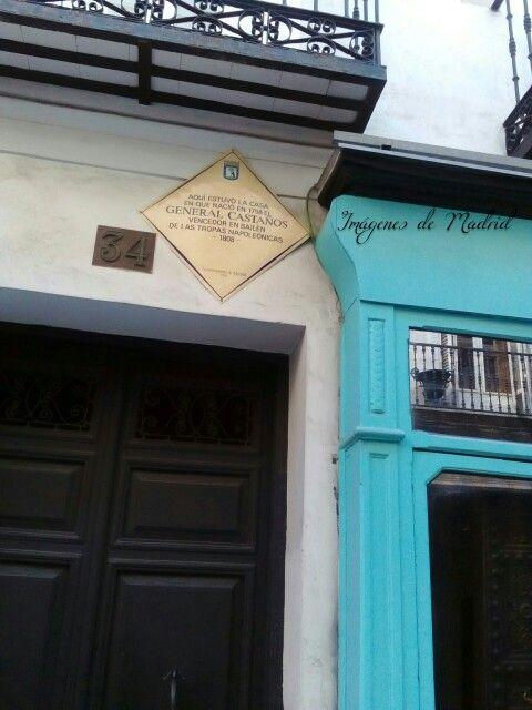 Placa al General Castaños en la calle Barquillo