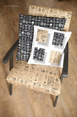#owoceszycia illusion patchwork, pillows, recycled chair